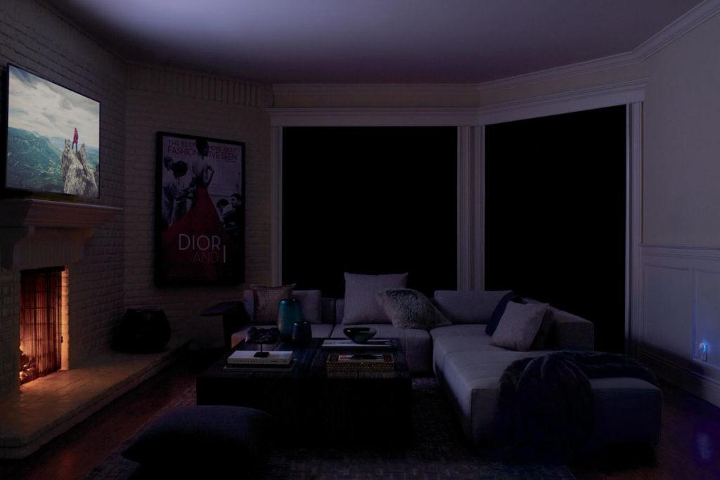 honeycomb shades darkening room for a movie